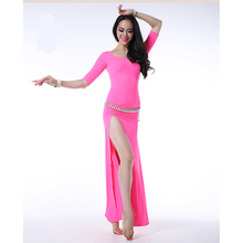 Wuchieal Short Sleeve and High Slit Sexy Indian Dress, Soft and Comfortable Women Dance Dress