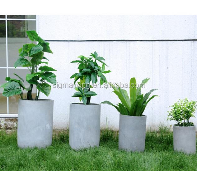 New arrival quality planters outdoor garden magnesium mud pot cylindrical simplicity flower pot