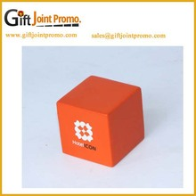 Promotional customized logo cube PU anti stress ball