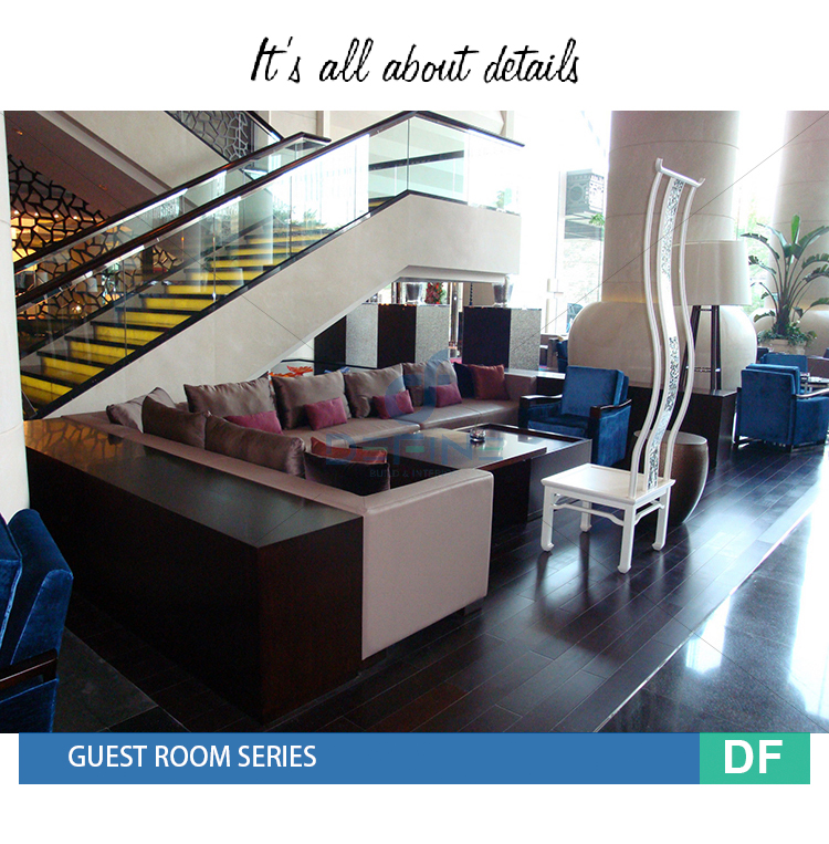 5 star Hotel modern lobby furniture set, Public areas furniture, Bench+Table+Sofa DF-211