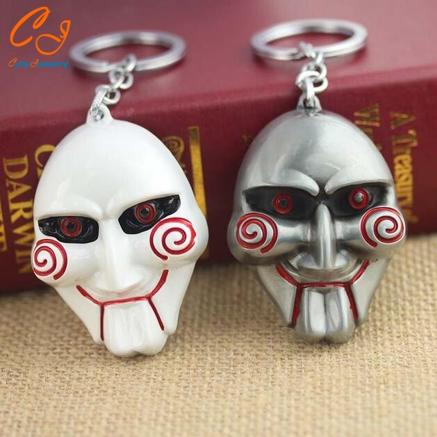 Saw Horror Movie Billy's Mask Keychain Key Chain Chaveiro Party Supplies Halloween Accessories Keyring
