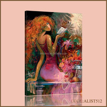 Handpainted hot sale modern abstract woman figure oil painting of Reading girl for home decoration