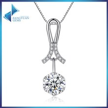 immitation jewellery cz stone platiunm plated brass necklace