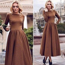 2016 Muslim Long Sleeve Women Girls Maxi Dress With Full Pictures