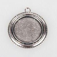 PandaHall Vintage Tibetan Jewelry Alloy Pendant Cabochon Blanks Bezel Setting Antique Silver Flat Round Tray 25mm 40x35x2mm