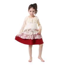 Latest Fashion Long Sleeve Floral Casual Frock Designs for Small Girls
