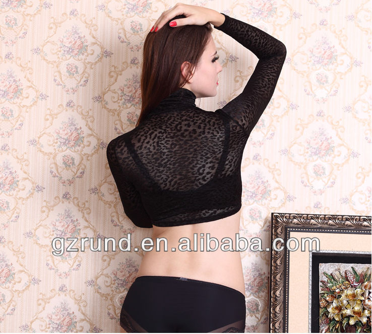 New spring leopard tunic black turtleneck sexy shirt lace long-sleeve fashion blouse top quality china wholesaler model-m103