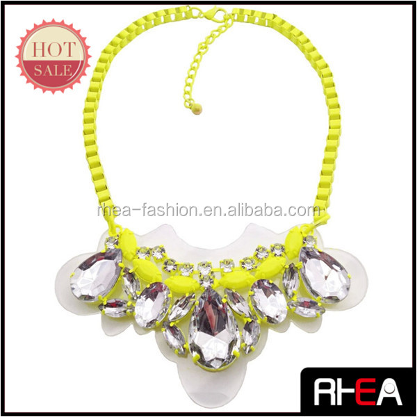 Neon Yellow Paint Chain Necklace Transparent Glass Stone Shourouk Necklace