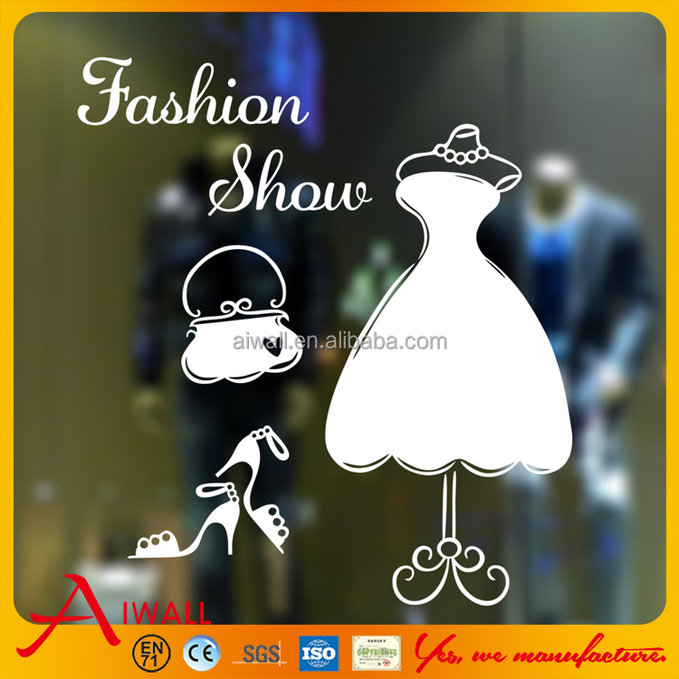9277 Dress and High Heels Vinyl Wall Decal Newly Design Custom Sticker Removable Goddess's Wedding Dress Window Sticker