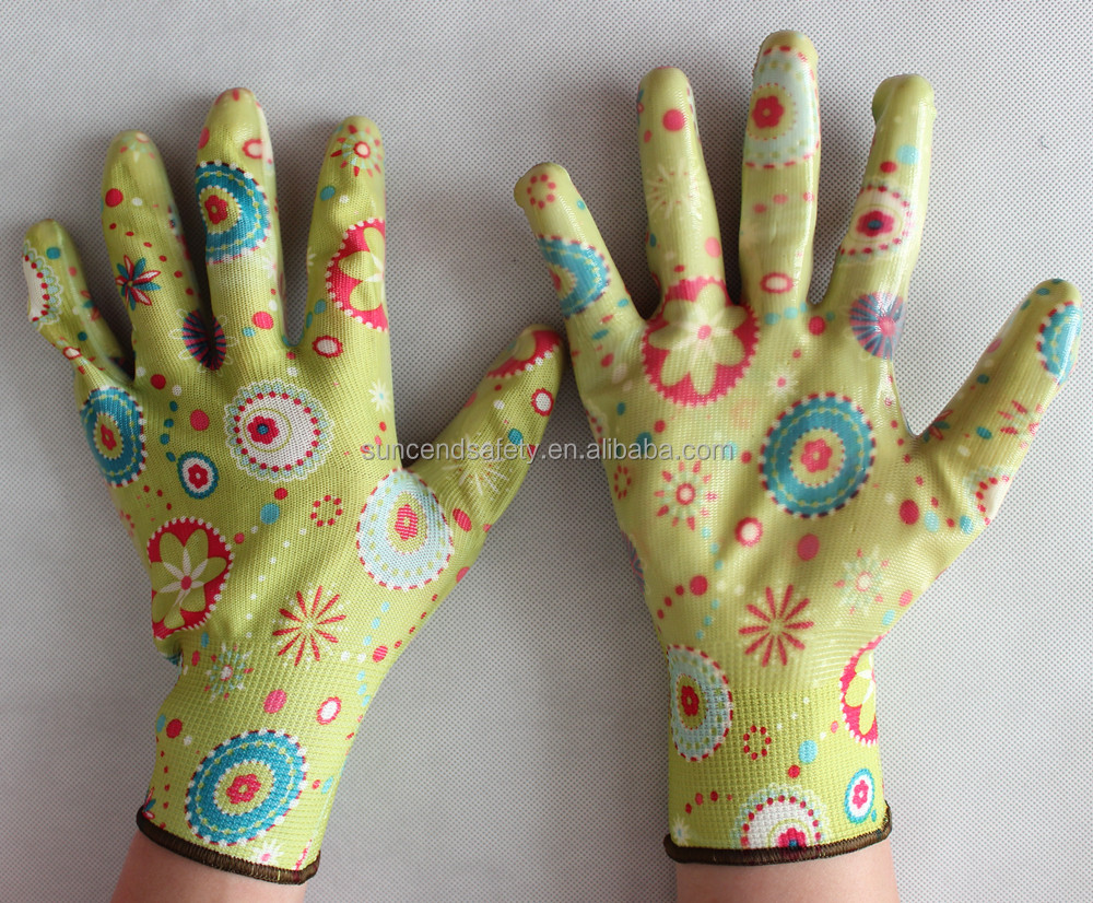China Made 13G Colorful Printing Nitrile Coated Smooth Palm Work Gloves