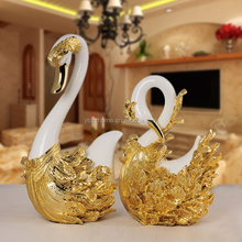 Dongguan decoration factory ceramic swan for home decor