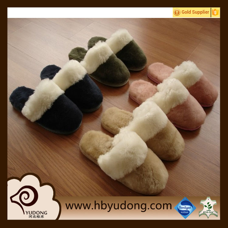 sheepskin women/men slippers for winter indoor leather shoes fashion design warm slippers