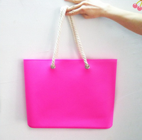Fashion candy colors PVC shopping tote bag with cotton rope china factory