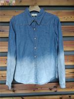 stocklot blue gradient color long sleeves plain wholesale women denim shirt