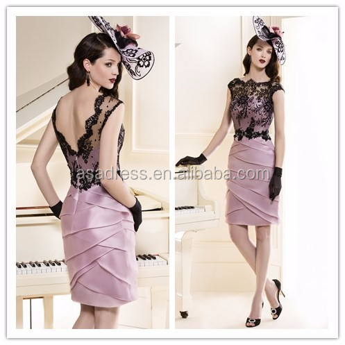Vintage Satin Lace Cap Sleeve Knee-length Backless suit Mother Of The Bride Dress 2015(MOTB-002)
