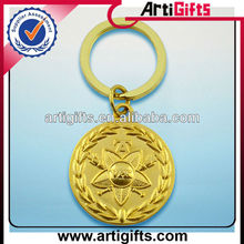 Cheap 3d metal gold key chains round