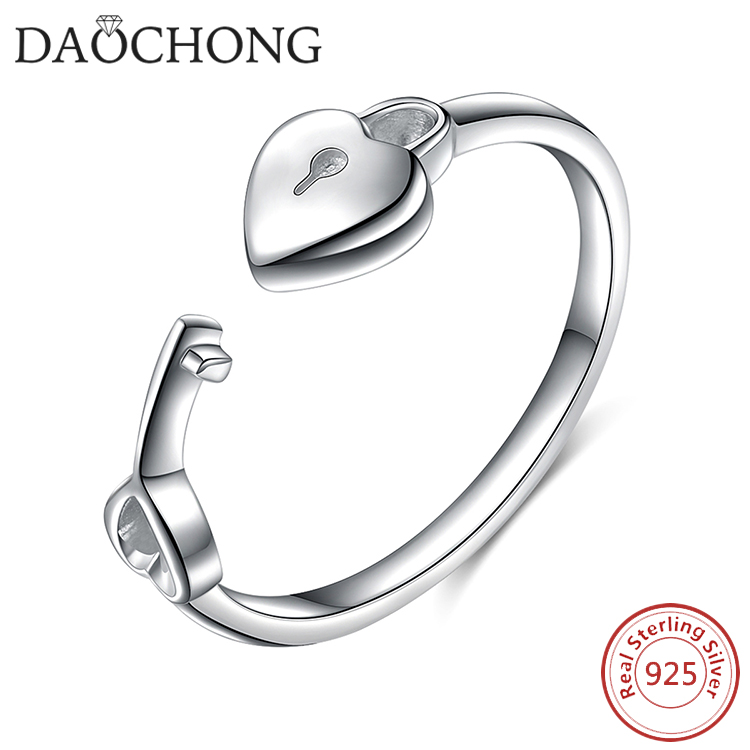 Factory Wholesale fashion jewelry Open Key Heart Lock 925 Sterling Ring for Women
