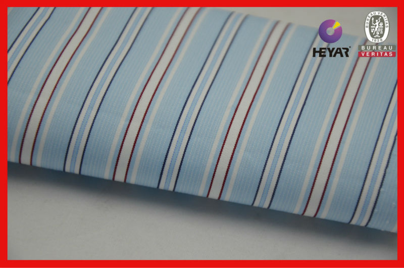 100% cotton men's shirting fabric yarn dyed striped fabric