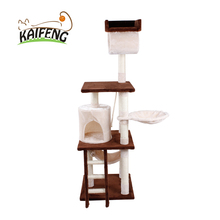 Kaifeng Wholesale Guaranteed Quality Eco-friendly Material Sisal And Plush Cat Tree With Cat Hammock Bed