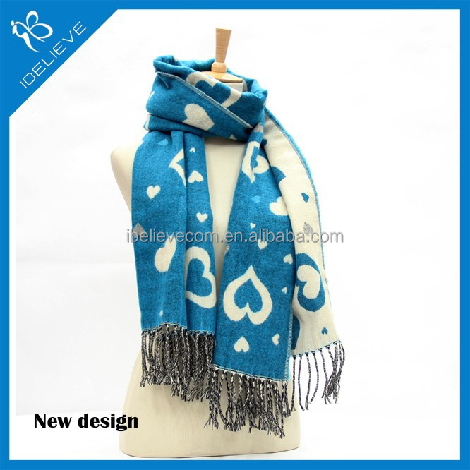 2015 New arrive winter warm fashion Loving heart style fashion cashmere scarf
