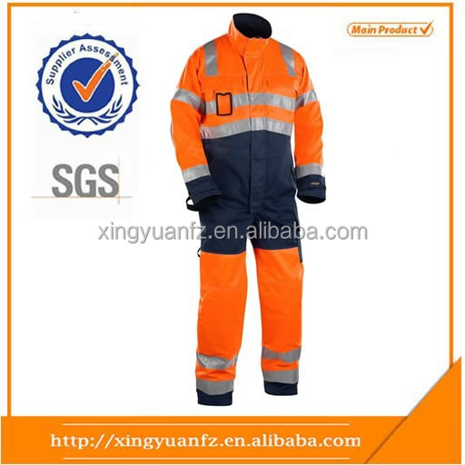 Red high visibility reflective Safety Work Waterproof Winter Coveralls for workers