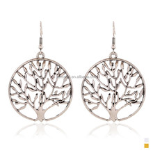 2016 New Design Drop Earrings Round Hollow Out Tree Shape Teardrop Dangle Pendant Ancient Gold Eardrop