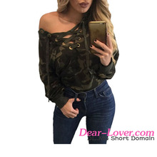 Fast Delivery Sexy Lace Up V Neck Camouflage Long Sleeve Top Blouse Women