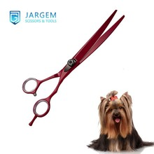 100% Pure hand made coated pet grooming scissors curved blade pet dog scissors for dog use