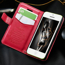 Fashion retro leather wallet case for iphone 5c , flip case for iphone 5c , for iphon 5c mobile phone covers with kickstand