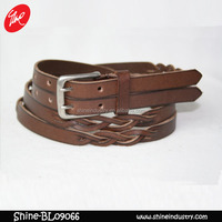 Double needle buckle decoration Leather Belt