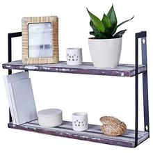 Solid Pine Wood Wall Mount Rustic <strong>Shelves</strong> Floating 2-Tier Hanging wall <strong>shelf</strong> brackets for Kitchen Bedroom or Bathroom