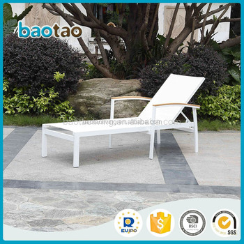 Aluminum frame fabric recline lounger, garden outdoor daybed, aluminum patio furniture