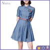 Latest Fashion Ladies Short Sleeve Casual Demin Dresses With Belt