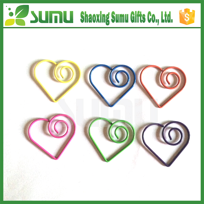 Wholesale print logo heart shaped paper clips