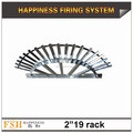 "Liuyang Happiness 2"" 19 shots fan-shaped aluminum display rack for fireworks display"