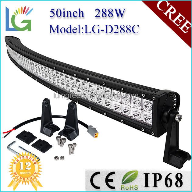 "50"" Wholesale LED Light Bar 288w Curved LED Bar Lights with PC LED Light Bar Cover for 4x4 Car Accessory"
