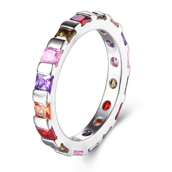Zhefan jewelry new products 2018 wholesale colorful jewelry multi color stone ring colorful zircon ring christmas gift