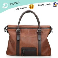 2015 New Product Large Soft Mens Genuine Leather Handbag Factory Price