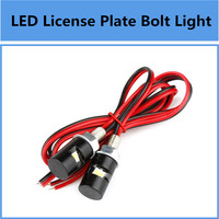 2x White LED Motorcycle & Car License Plate Screw Bolt Light Blub Kit 12V