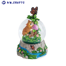 Inner Yellow Kitten and Outside Butterfly Resin Water Globe The Truth About Spring Sonw Globe Home Desk Decor