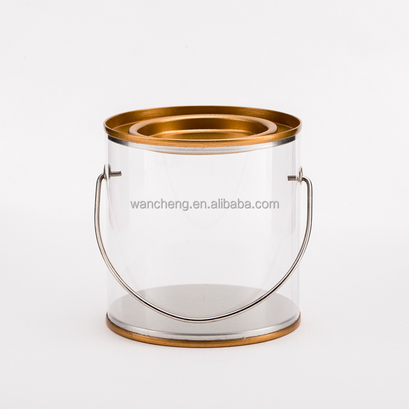 Wholesale Decorative Round Candy PET Plastic Can with Tinplate Lid