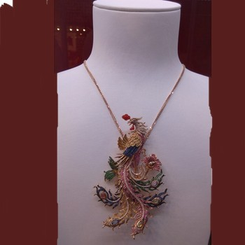 Hot Sale Fashion Jewelry, Peacock Necklace, gold and diamond necklace