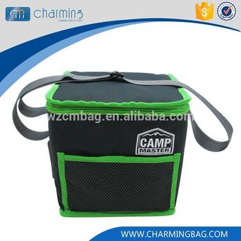 Top grade superior quality green zipper cooler bag for beer can