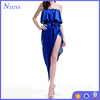 Navy Irregular Flouncing Collar High Split Sexy Party Dresses