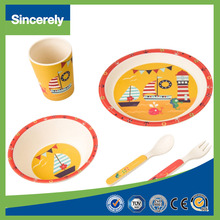 5 Pcs Animal Design Bamboo Kids Tableware Set