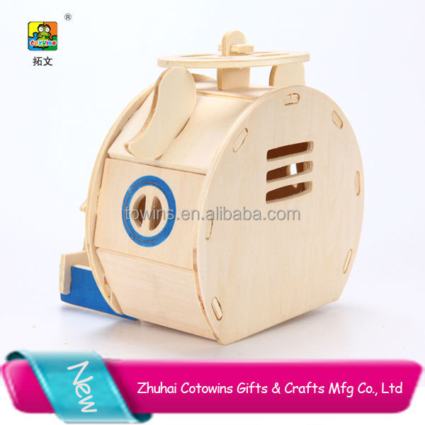 2017 new cute house 3d Plywood Mini Wood doll House Puzzle