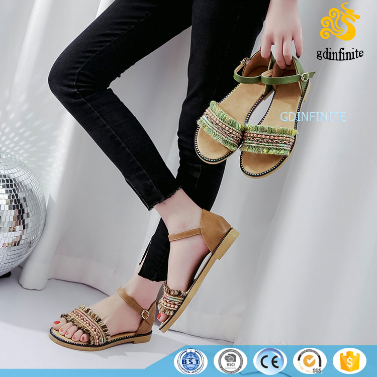 Factory Direct Wholesale Funky Young Girls Flat Shoes Latest Denim Tassel <strong>Sandals</strong>