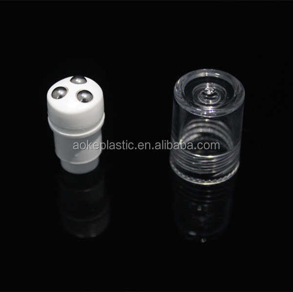 cosmetics packaging bottle plastic eye cream three roller balls with holder