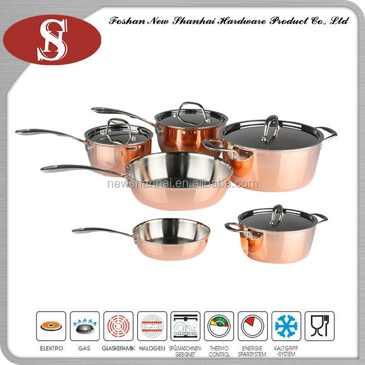 Hot fashion 10pcs copper cookware pot