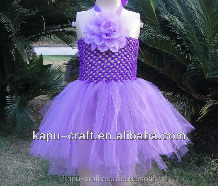 The Latest Design Girl One Shoulder Flower Handmade Crochet Long Top Purple Dancing Dresses For Party